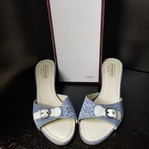 Coach monogram slide sandals
